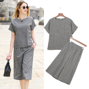 Women Fashion Wide Leg Pants with Short Sleeves Shirts pictures & photos