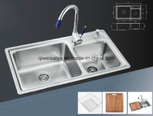 Stainless Steel Handmade Kitchen Sink with Soap Container (QW-7844) pictures & photos
