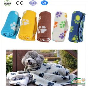 Paw Printed Polar Fleece Pet Blanket for Dog and Cat pictures & photos