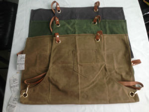 Custom Heavy Duty Waxed Canvas Apron Work Apron Withcriss-Back Genuine Leather Straps pictures & photos