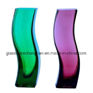 Mouth Blown Colorful Glass Flower Vase (V-019) pictures & photos