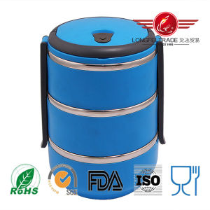 Round Korean Stainless Steel Lunch Box with Lock pictures & photos