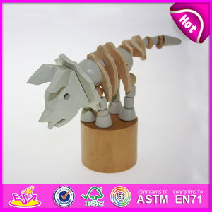 Hot New Product for 2015 Kids Toy Wooden Hand Push Toy, High Quality Wooden Toy Hand Toy, Hot Sale DIY Wooden Animal Toy W06D054 pictures & photos