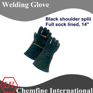 Black Shoulder Split, Full Sock Lined Leather Welding Glove pictures & photos