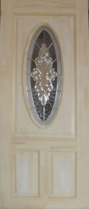Solid Pine Wood Door with Beautiful Glass pictures & photos
