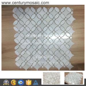 Century Mumflower Waterjet Paper White Marble Mosaic Tiles