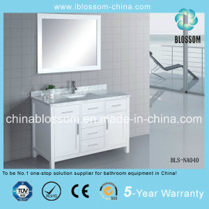 White Color MDF Bathroom Vanity Floor Mounted Bathroom Cabinet (BLS-NA040) pictures & photos