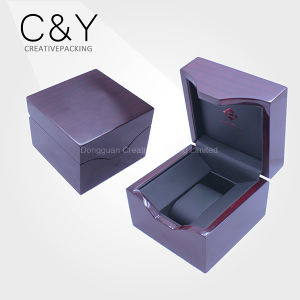Custom Purple Lacquered Wooden Single LED Light Watch Display Box pictures & photos