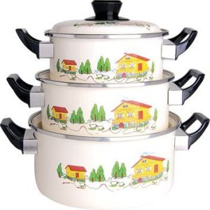 Enamel Cookware 3PCS Set Casserole 16-20cm pictures & photos