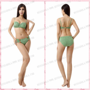 Miss Adola Latest Green Bikini Swimsuit with Buttons Sweet Girls and Ladies′ Bikini (M101)