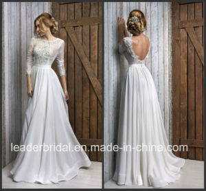 Sheer Bodice Wedding Ball Gown Lace 3/4 Sleeves Bridal Wedding Dress L15319 pictures & photos