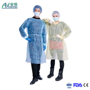 Non-Sterile Nonwoven Isolation Gown Polypropylene Patient Gown pictures & photos