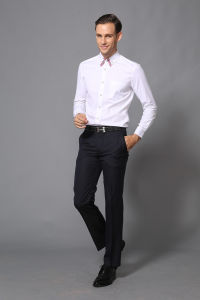 Men′s Business White Long Sleeve Dress Shirt -Md1a8534 pictures & photos