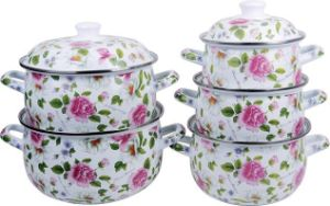 5PCS Enamel Casseroel 806d Full Flower Deco pictures & photos
