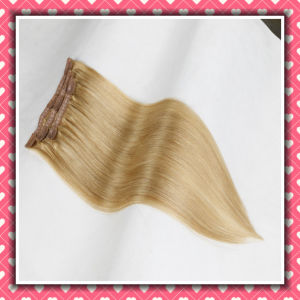 Quality Brazilian Human Hair Clip on Hair Extensions Silky 16inch pictures & photos