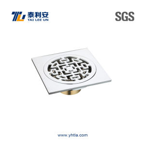 Chinese Style Pattern Chrome Plated Brass Shower Floor Drain (T1058) pictures & photos