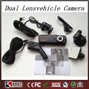 New F90g H. 264 Full HD 1920X1080p 20fps Dual Lens Dashboard Car Vehicle Camera Video Recorder DVR Cam G-Sensor/GPS/Rear Camera pictures & photos