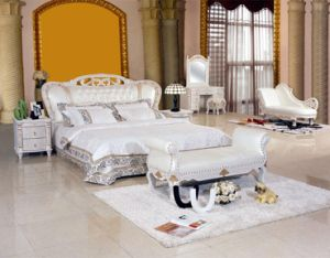 New Classic White Leather Bed (8085) pictures & photos