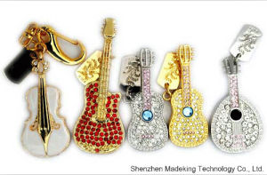 Jewelry Diamond Guitar USB Flash Drive Full Capacity pictures & photos