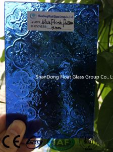 Blue Flora Patterned Glass with Ce, ISO (3-8mm)