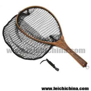 Fly Fishing Wooden Frame Nylon Landing Net with Bottom pictures & photos