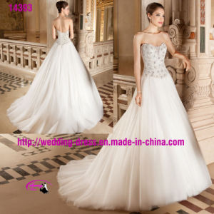 New Arrival Beading A-Line Dress Wedding with Lace up pictures & photos