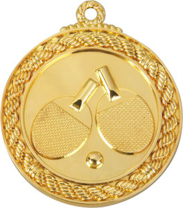 Table Tennis Game Gold Color 5cm Diameter Medal