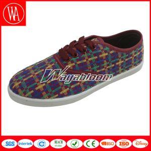 PVC Sole Lady Flat Canvas Leisures Shoes pictures & photos
