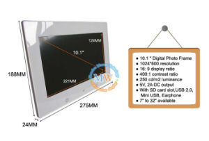 Slim 10-Inch Digital Photo Picture Frame 16: 9 High Resolution 1024*600 (MW-1026DPF) pictures & photos