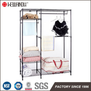 Epoxy Black Metal Bedroom Furniture Metal Wire Closet Wardrobe Rack Shelving pictures & photos