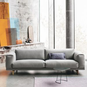 Nordic Modern Furniture 1+2+3 Wood Sofa with Yellow Fabric (HC119) pictures & photos