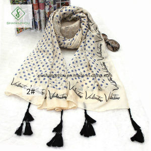 Literature DOT Words Printed Tassels Hanging Scarf Shawl pictures & photos