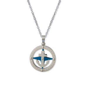 Stylish Jewelry Couples 316L Stainless Steel Compass Anchor Necklace Pendant pictures & photos