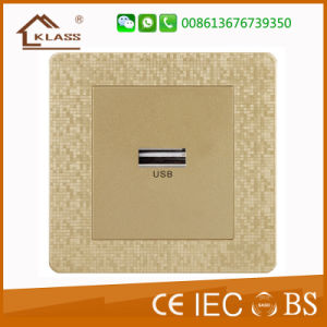 Burma Champagne Gold Mosaic 1gang Switch+2pin Wall Socket pictures & photos