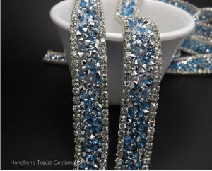 Clear Glass Rhinestones Trim Mesh Strass Chain Crystal Banding for Bridal Applique Wedding Dress Decoration (TS-047) pictures & photos