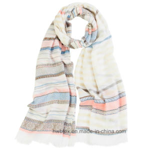 Best Selling BSCI Factory Bulk Printed Cotton Scarf with Horiztontal Stripe (HWBC038) pictures & photos