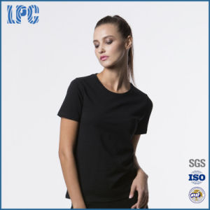 Women ′s Round Neck Short -Sleeved T-Shirt Solid Color Casual T - Shirt pictures & photos