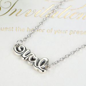 925 Sterling Silver Signature of Love Pendant Necklace, Clear CZ Adjustable Chain Necklaces pictures & photos