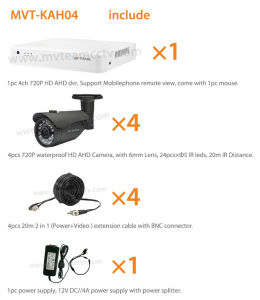 DVR Kit CCTV Camera System 4CH 720p Ahd DVR Kits pictures & photos