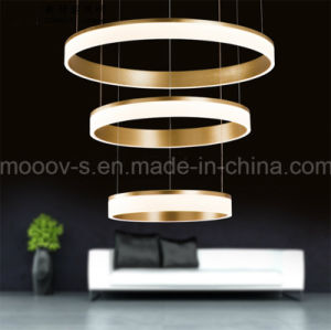 Modern Luxury Gold Aluminum Circle LED Pendant Selfie Ring Light for Living Room pictures & photos