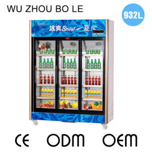 Upright Three Sliding Door Beverage Refrigerator with LED Light