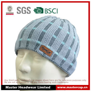 Popular Knitted Hat Acrylic Beanie with Embossed Leather pictures & photos