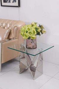 Mirror Glass Design Stainless Steel Base Corner Side Table pictures & photos