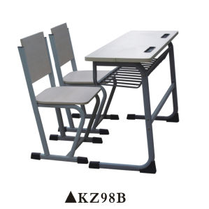 Double Seat Wooden Product School Desk and Chair Furniture Set pictures & photos