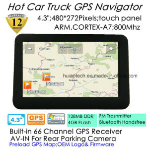 "Factory Hot Sale 4.3"" Portable in-Dash Car GPS Navigator with Arm Cortex A7, 800MHz CPU, Preload Igo Map; FM Transmitter; Bluetooth Handsfree; ISDB T TV pictures & photos"