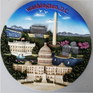 High Quality Custom Resin Souvenir Plate with Washington Image pictures & photos