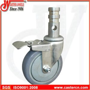 "5"" PP Core Rubber Threaded Stem Swivel Locking Scaffold Caster pictures & photos"