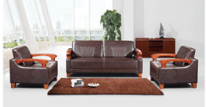 Wooden Frame Arms Leather Executive Office Sofa (HX-CF012) pictures & photos