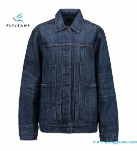 Oversized Women Cotton Denim Jackets with Whisker Enzyme Fansy Washes pictures & photos