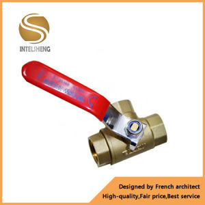 Brass 3 Way Ball Valve with Red Handle pictures & photos